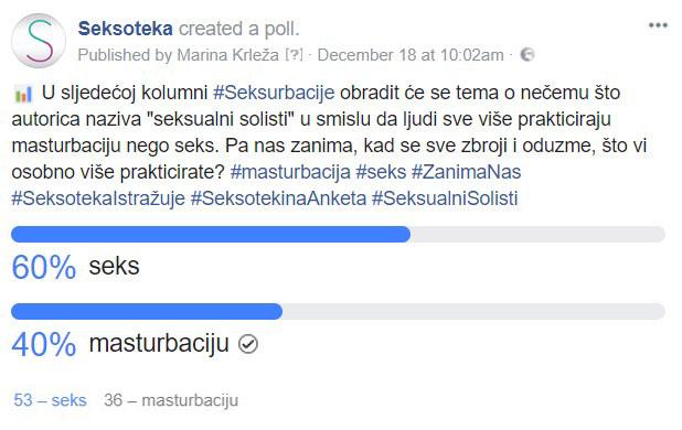 Facebook rezultati - Seksualni solisti - Seksoteka